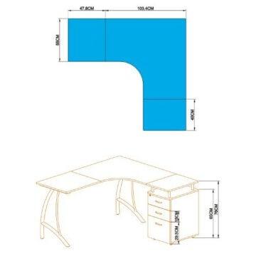 HJH Office Eck-PC Schreibtisch mit Container -