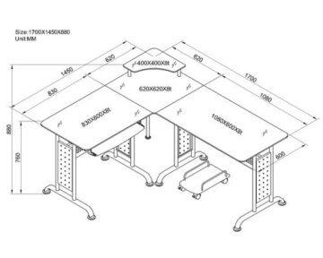 SixBros Eck-PC Schreibtisch mit PC Rollwagen -