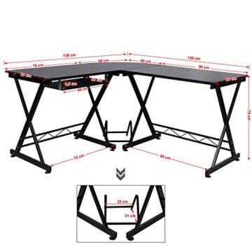 Songmics Eck-PC Schreibtisch mit Metallgestell -