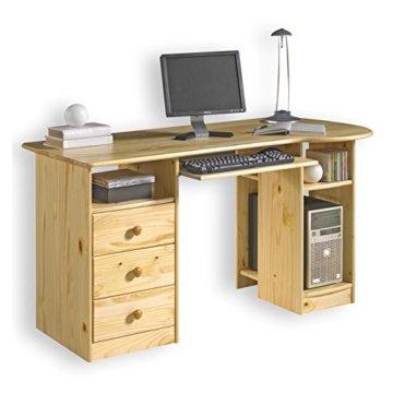 """Idimex PC Schreibtisch """"BOB"""" Kiefer massiv, natur lackiert -"""