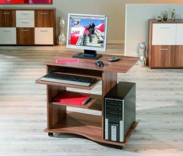 Links PC Schreibtisch Walnuss mit Rollen-2