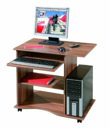 Links PC Schreibtisch Walnuss mit Rollen-1