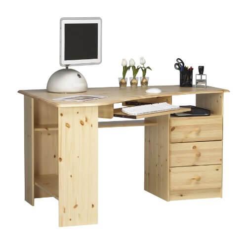 Schreibtisch holz natur  PC Schreibtisch HOLZ lI❶Il Massivholz Modelle bis -40% ➥Klick!